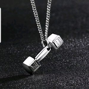 Large silver barbell dumbbell necklace